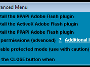 Adobe Flash Update Utility advanced menu