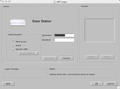 Early screenshot showing airport connect dialog box