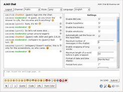 AJAX Chat - grey style - showing the settings page