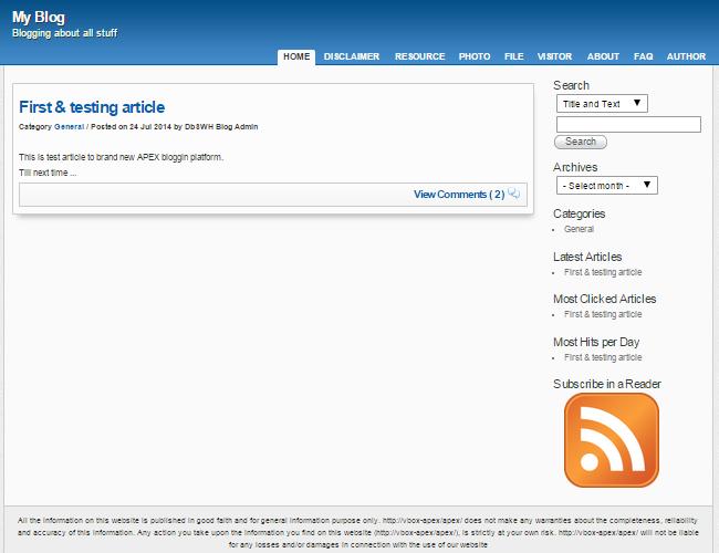 APEX Blogging Platform download | SourceForge net