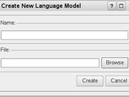 The dialog to create a new language model.