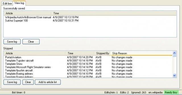 AutoWikiBrowser screenshot