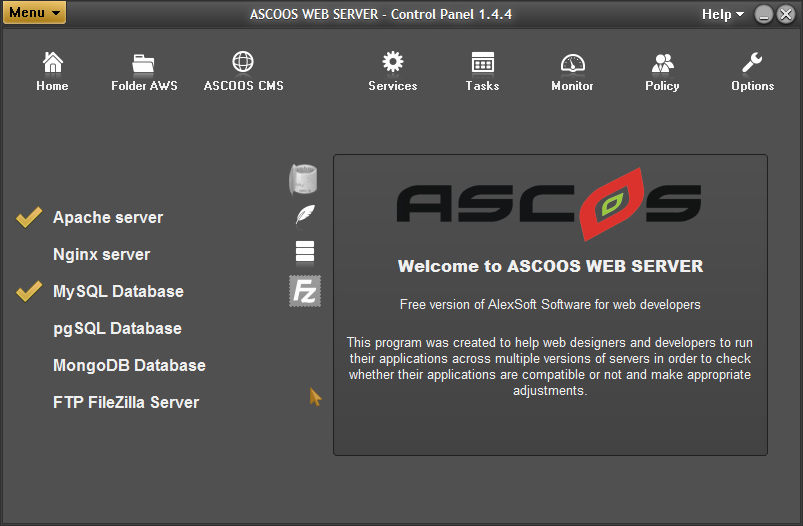 ASCOOS Web Server screenshot