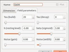 Field dialog, setup of field parameters.