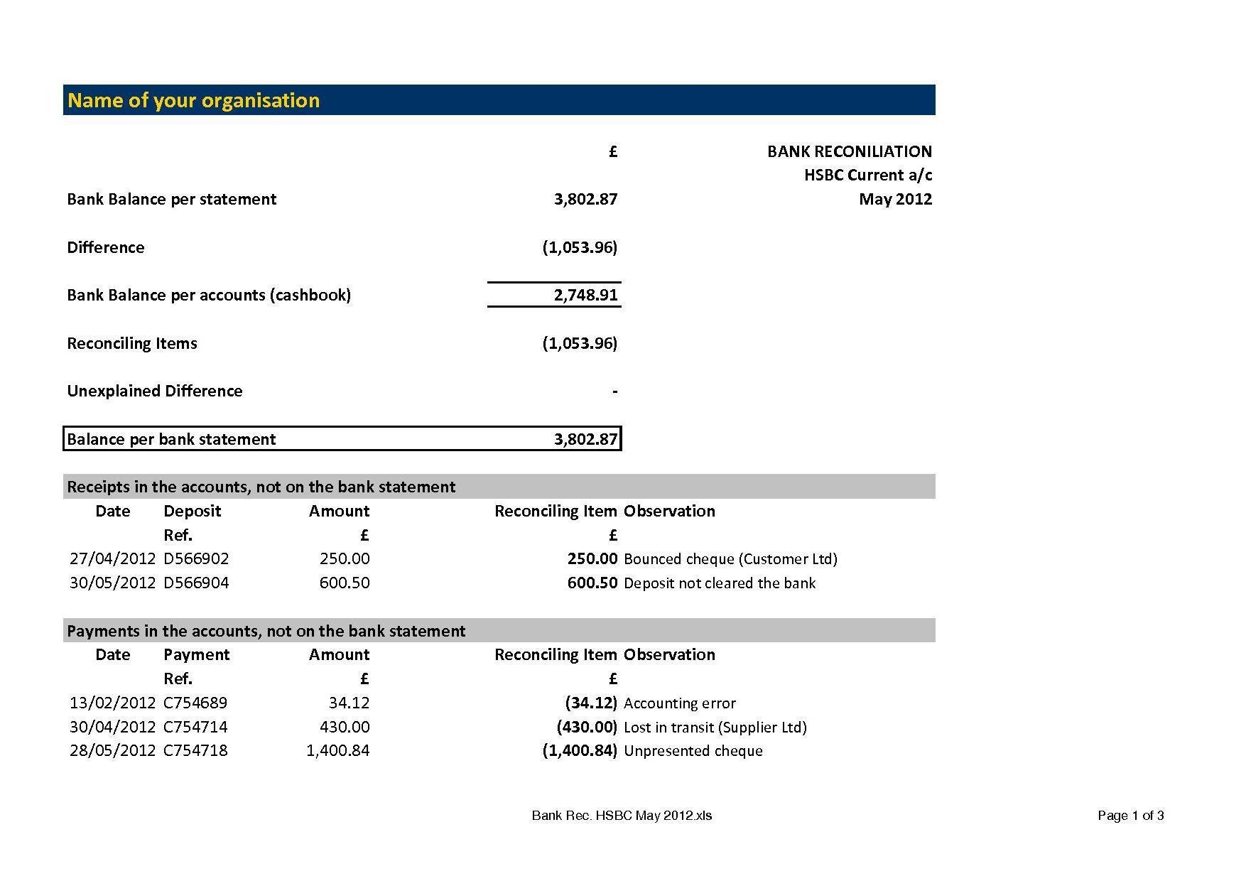 Bank reconciliation worksheet example
