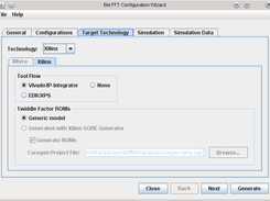 Configuration wizard, target technology Xilinx
