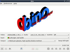 User interface of Bino 3D Video Player