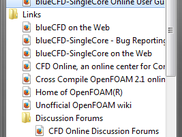 blueCFD-SingleCore 2.1 folder in the Start Menu