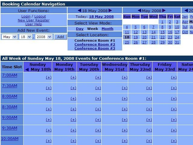 Calendar Booking : Php booking calendar sourceforge