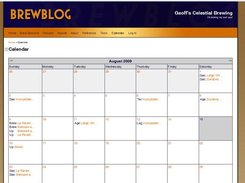 Calendar feature detailing brew sessions.