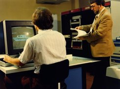 Mike Muuss working with BRL-CAD on the PDP-11/70
