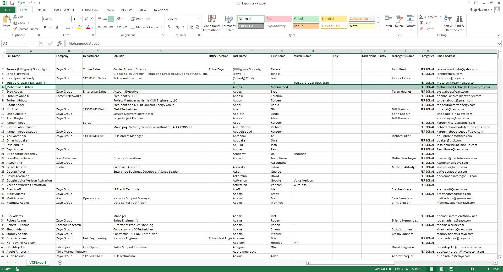 Free VCF file to CSV or Excel converter download