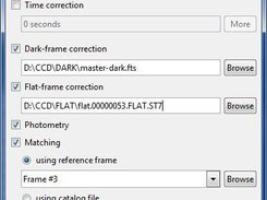 Dialog for setting up parameters of reduction of CCD frames