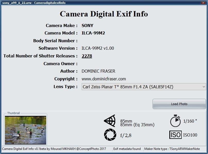Camera Digital Exif Info download   SourceForge net