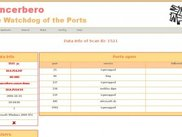 GUI Web Cancerbero: Ports open in a scanned IP.