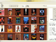 "Vversion 0.5.1. This is a standard shelf view, but notice that ""The Evil Dead II"" is semi-transparent to indicate that it is either lost, lend out or a new copy is needed"