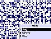 A randomly generated grid, showing the CELLular menu