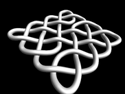 2D knot rendered in 3D without colour.