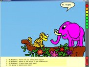 Tiger meets pink elephant