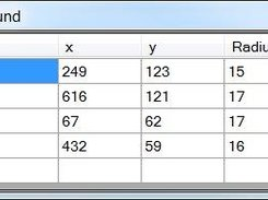 Result table tells you coordinates and radii.