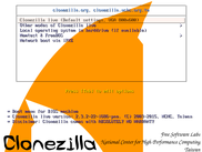 Boot menu of Clonezilla Live
