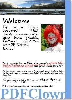 Sample page generated by PDF Clown