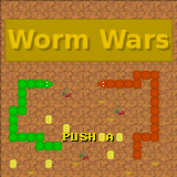 The title screen of Worm Wars, a game running in C-Lesh.