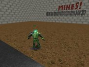 player exploring minefield, particle below shows number of mines in neighbor 8 fields