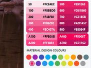 Built-in colour palette from the Material Design standard