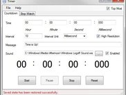 Countdown Timer Main Window