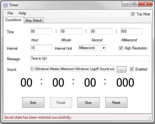 countdown timer main window