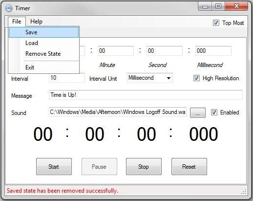 save load state menu countdown timer main window