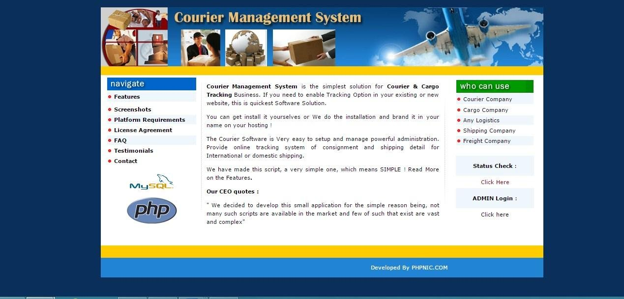 courier management system project in php download | SourceForge net