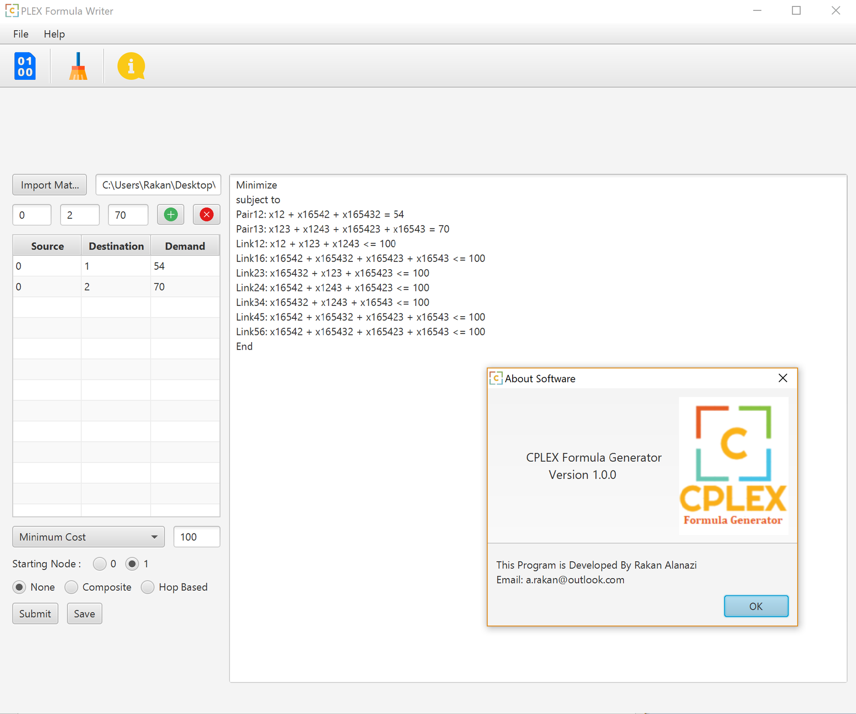 CPLEX Formula Generator download | SourceForge net