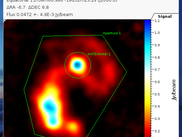The Antennae galaxy at 350 microns, reduced with CRUSH and opened in show, with marked regions