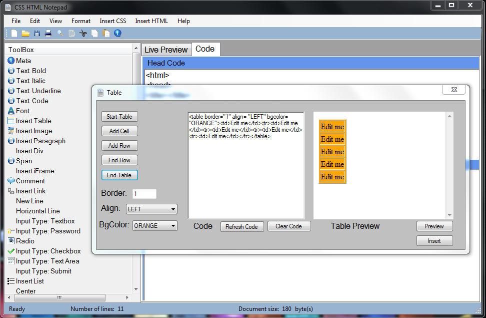 Css html notepad - Html code for creating table ...