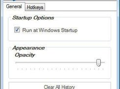 Preferences allow you to change startup options and opacity.