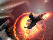 In-game screenshot showing explosion and lightning effects