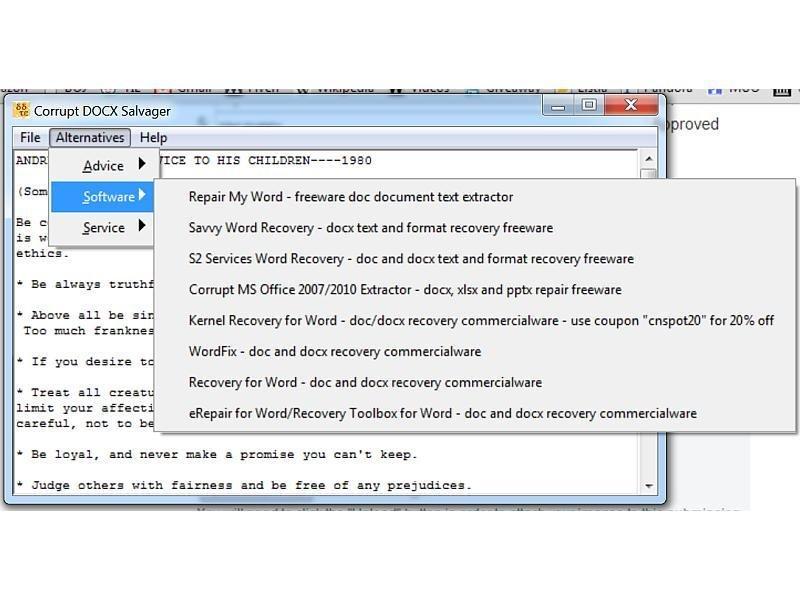 Corrupt DOCX Salvager download   SourceForge net