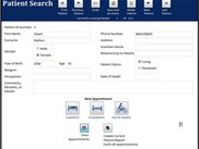 2. The patient search screen allows users to quickly find patient records and key demographic information.