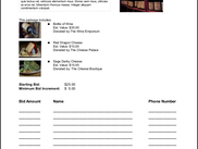 Sample pdf bid sheet created by the Silent Auction features of Delightful Labor