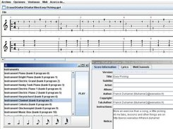 DGuitar with the Score Information and Midi Test windows
