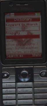 Sony Ericsson K530i, JavaME Engl-Ger dict.cc dictionary