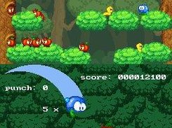 "Demo game ""Apple Assault"", with custom HUD on bottom scree"