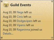 Guild event widget (data fetched from WowProgress)