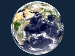 Earth using Blue Marble data with cloud layer