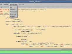 The Souce code editor with Functions selector