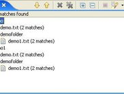 The result in the search view (like text file search)