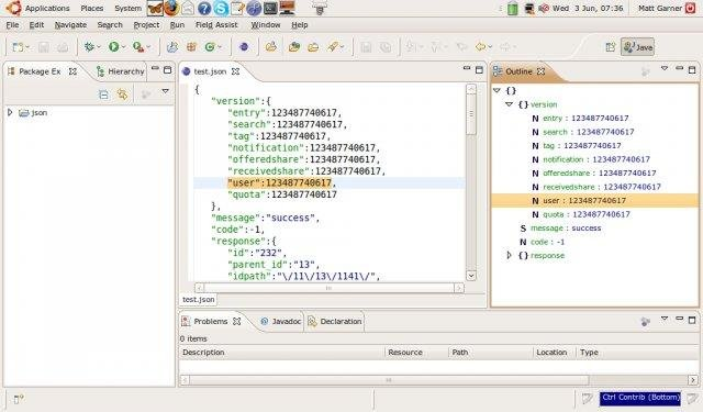 json editor outline view synchronized with editor