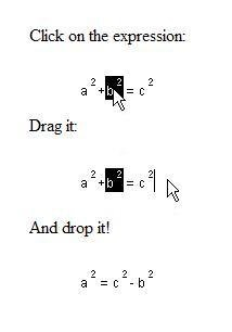 Move pieces of the equation around by dragging!